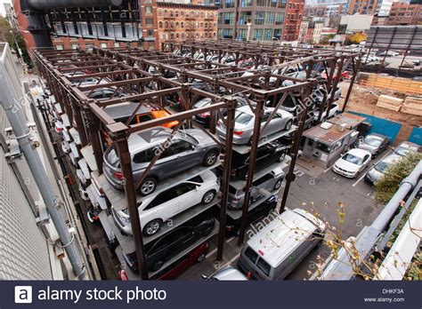 automated vehicle storage system parking lot viewed from the high stock royalty free