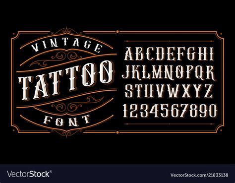 vintage tattoo font royalty  vector image vectorstock