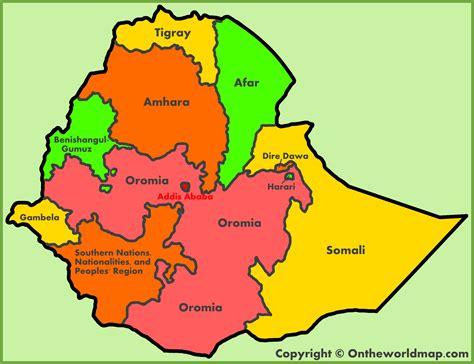 administrative map  ethiopia