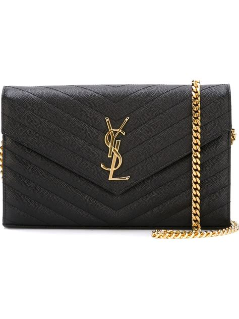 saint laurent monogram shoulder bag  black lyst