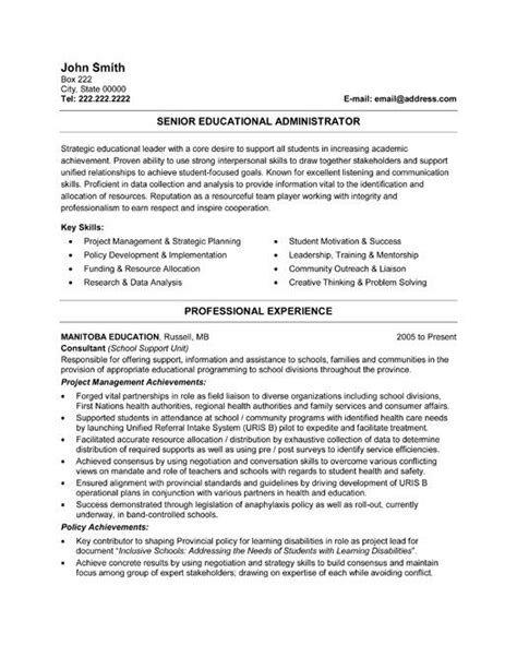 resume for school administrator click here to this senior educational administrator resume template http www