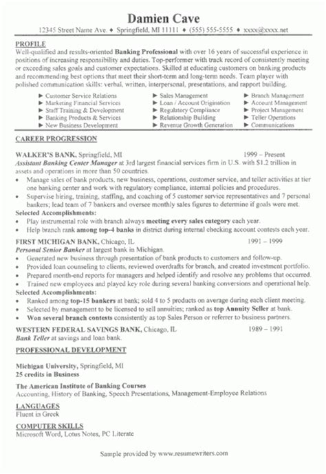 Branch Manager Resume by Bank Branch Manager Resume Exle Of Resume