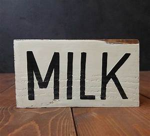 milk hand lettered wood sign hand painted in the usa With hand lettered wooden signs