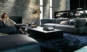 salon contemporain en noir et en couleurs foncees With tapis de gym avec canape stone