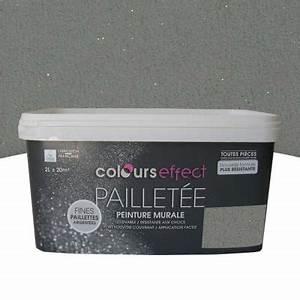peinture a effet paillettes ciel d39hiver 2l castorama With carrelage adhesif salle de bain avec spot led tableau