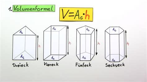 volumen und oberflaeche von prismen  lernen