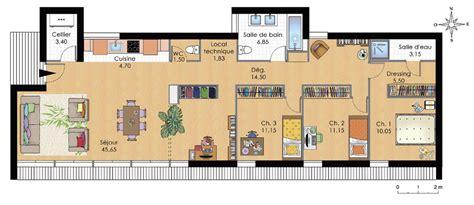 plan de maison plain pied 3 chambres gratuit cuisine plan maison moderne plain pied plan villa moderne