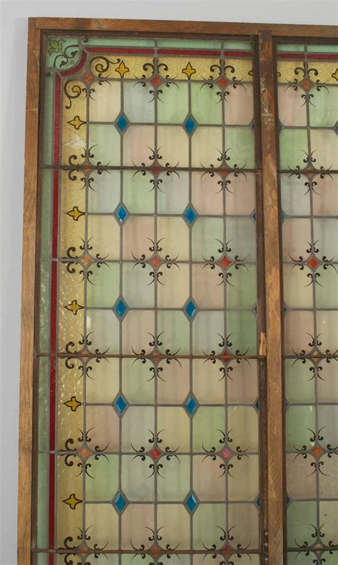 turn of the century english stained glass window panels at
