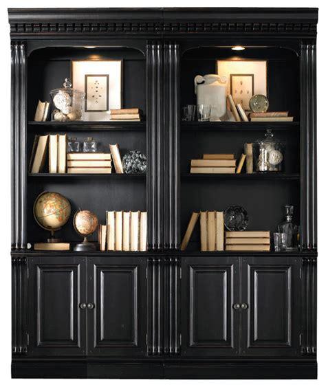 black bookcase with doors hooker telluride bunching bookcase with door in black
