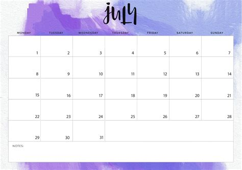 july calendar calendar template printable