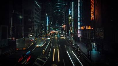 Street Japan Night Tokyo Lights Traffic Buildings