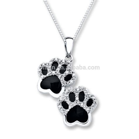 diamond dog paw necklace dog paw jewelry  dog