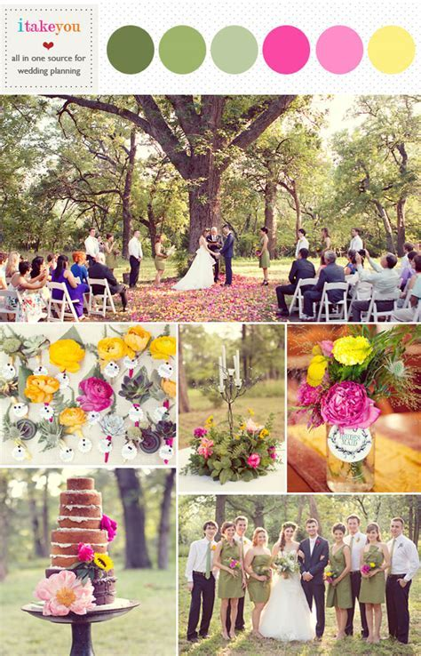 Green pink yellow wedding colors palette, Rustic wedding ideas