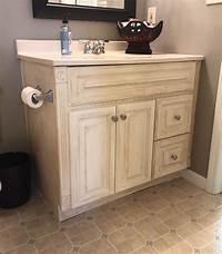 painting bathroom vanity Guest Bathroom Oak Vanity Makeover - Whimsical September