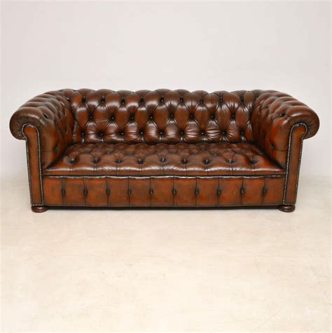 Leather Chesterfield Sofas by Buttoned Leather Chesterfield Sofa C 1920 La113477