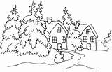 Coloring Winter Cabin Pages Christmas Snow Landscape Scenery Advertisement Houses Tree sketch template