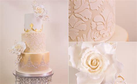 Golden Damask Rose Wedding Cake