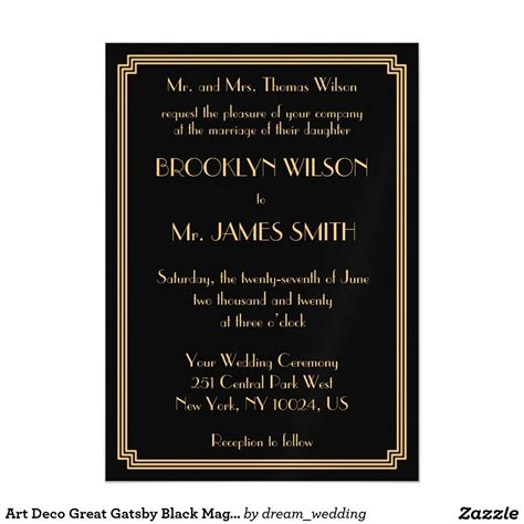 Art Deco Great Gatsby Black Magnet Wedding Invites