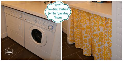 diy a no sew curtain in the laundry room the happy housie