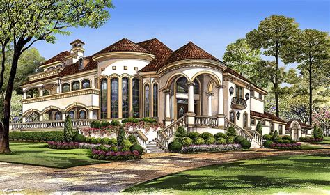 mediterranean  central courtyard tx architectural designs house plans