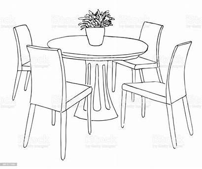 Round Dining Vase Sketch Drawn Chairs Flowers