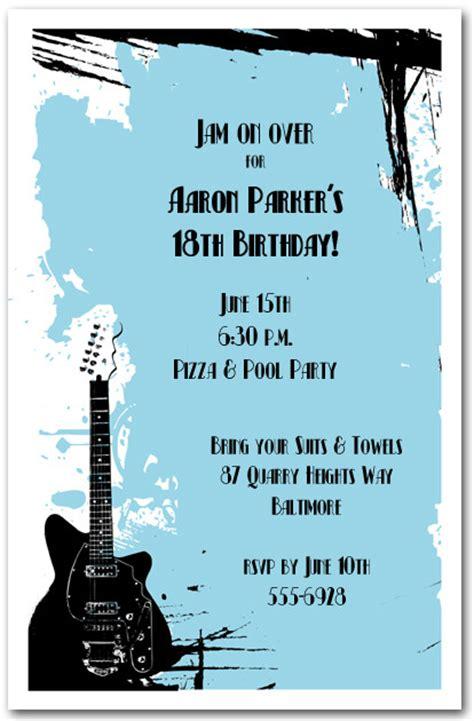 guitar  blue grunge invitations rock  roll invitations