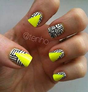 8 best images about Yellow black & white nails on