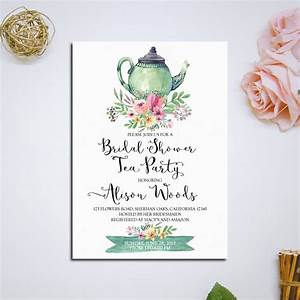 Bridal Shower Tea Party Invitation Printable Bridal Tea Party
