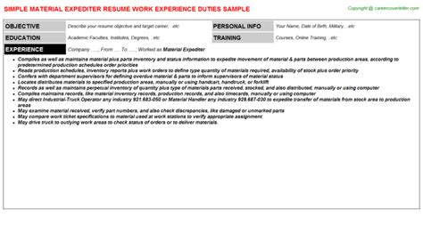 expeditor resume templates expediter clerk sle resume