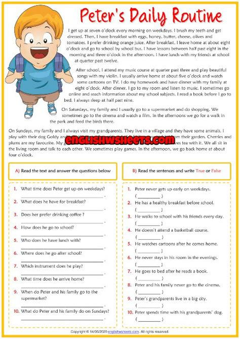 daily routines esl reading comprehension exercises