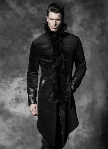 Manteau Homme Avec Fourrure : manteau gothique noir punk rave pour homme avec fausse ~ Melissatoandfro.com Idées de Décoration