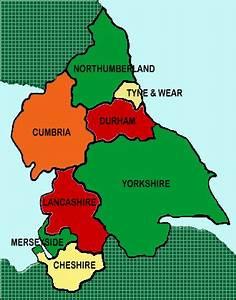 Map showing Yorkshire, Lancashire & Cumbria (the latter ...
