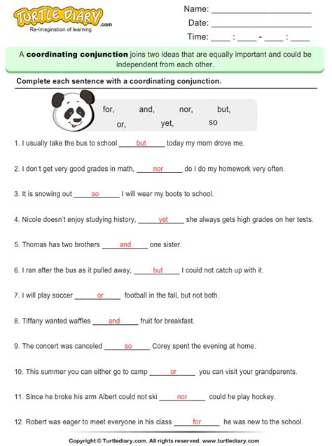 Fill In The Blank With Coordinating Conjunction Worksheet  Turtle Diary