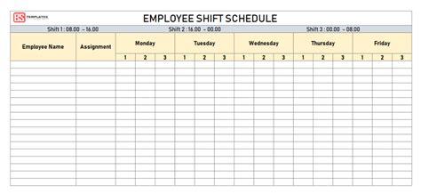 employee shift schedule template  excel weekly