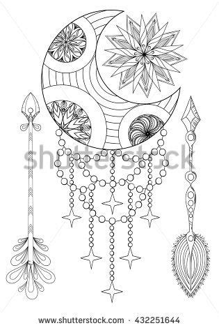 Bohemian Moon and Sun with Arrows. Hand drawn Zentangle set for adult coloring pages, ethnic