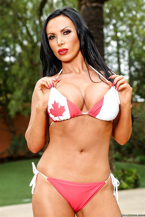 Big Tit Model Nikki Benz Removes Her Canadian Flag Bikini Top Outdoors