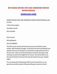 Mazda 929 Rx4 1973 1981 Workshop Service Repair Manual By