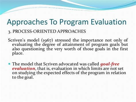 evaluation program oriented scriven process