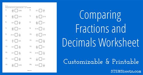 comparing fractions and decimals worksheet stem sheets