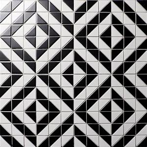 High Quality White Black Triangle Tile Mosaic, Porcelain ...