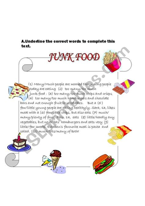 junk food esl worksheet  zhlebor