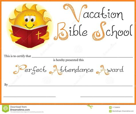 bible school perfect attendance award stock vector