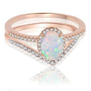 18k rose gold oval white fire opal engagement wedding sterling silver ring ebay