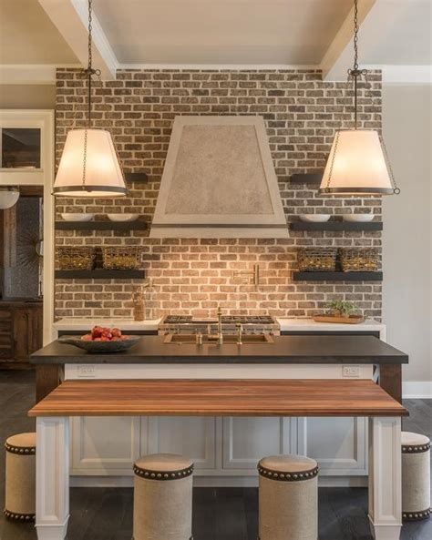 kitchen  brick backsplash cottage kitchen