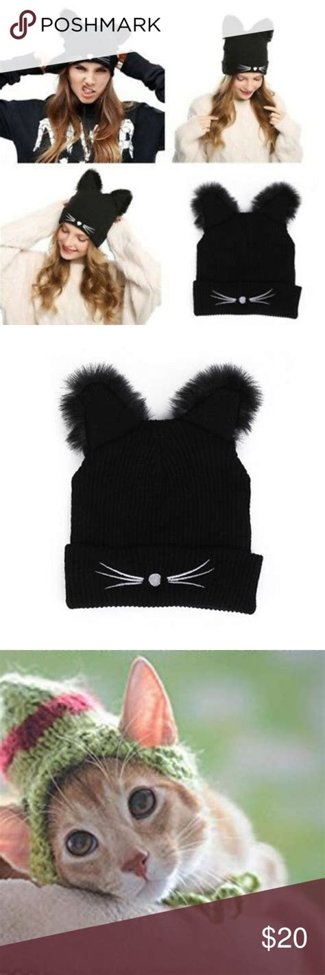 ears cat warm hat embroidered hats skull nose knit cap whiskers kitty poshmark