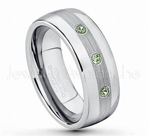 021ctw green tourmaline diamond 3 stone tungsten ring for Mens wedding rings with birthstones