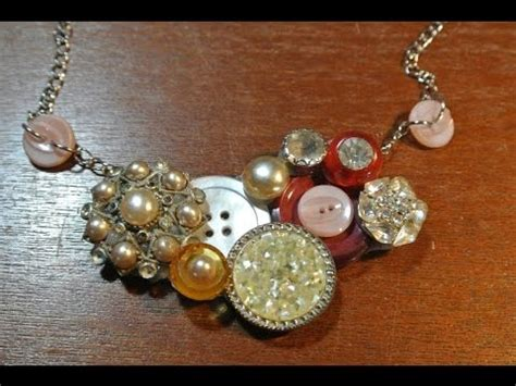 How To Make A Vintage Button Necklace Youtube