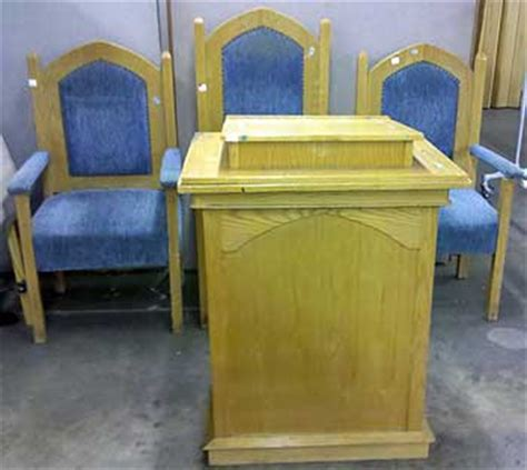 oak church pulpit and side chairs auction finds