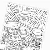 Ocean Coloring Waves Sunset Printable Printables Paper sketch template