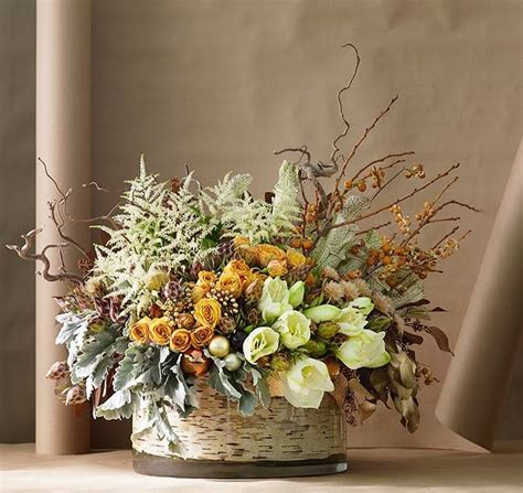 astilbe centerpiece dusty millerroses birch fall